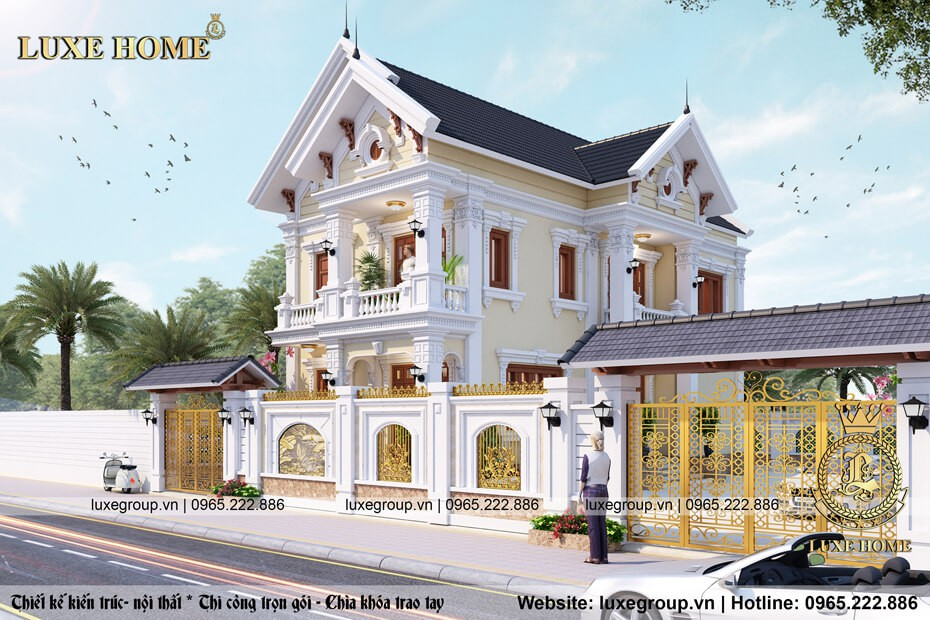 thiết kế biệt thự tân cổ điển 2 tầng sân vườn