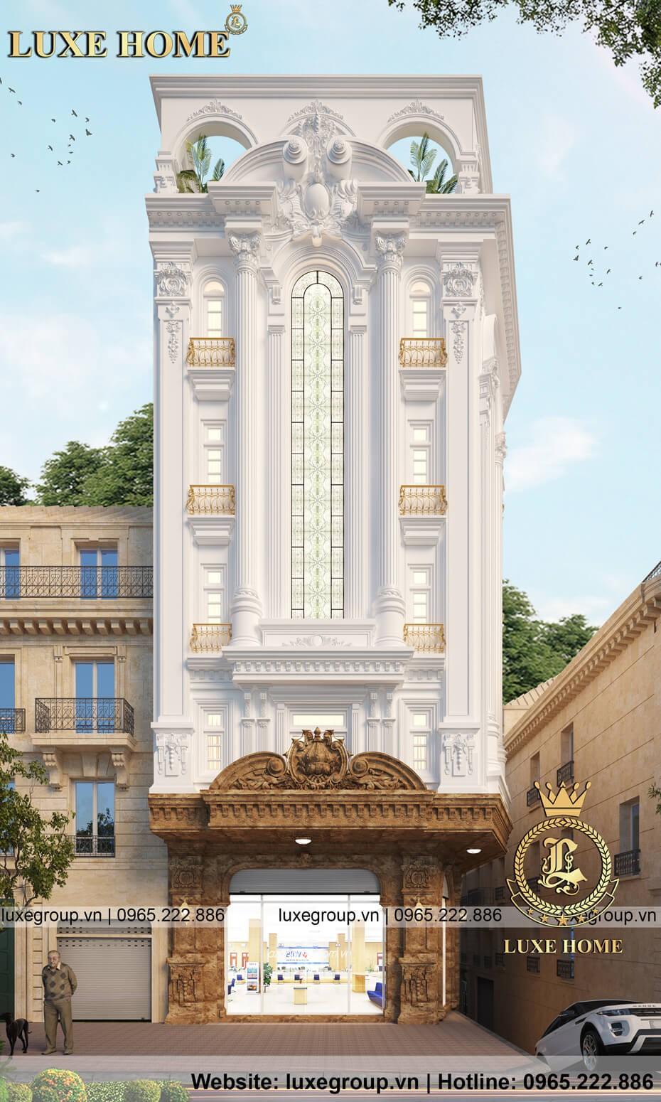 thiết kế biệt thự 6 tầng mặt phố bt 6111