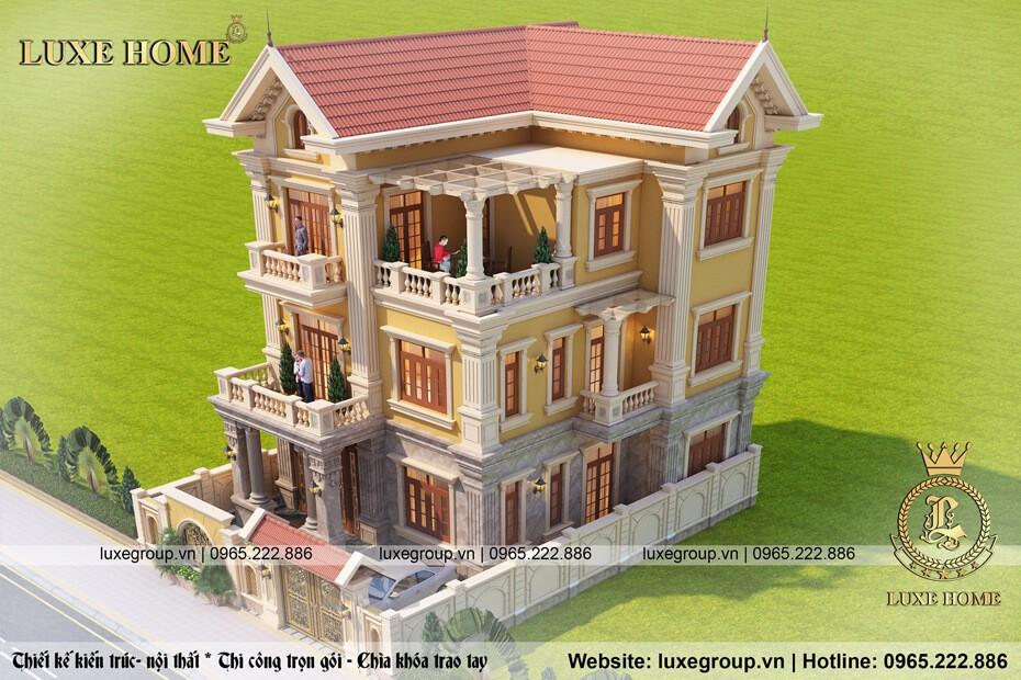 thiết kế biệt thự 3 tầng tân cổ điển bt 3156