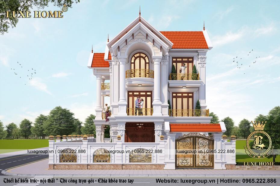 thiết kế biệt thự 3 tầng tân cổ điển bt 3265