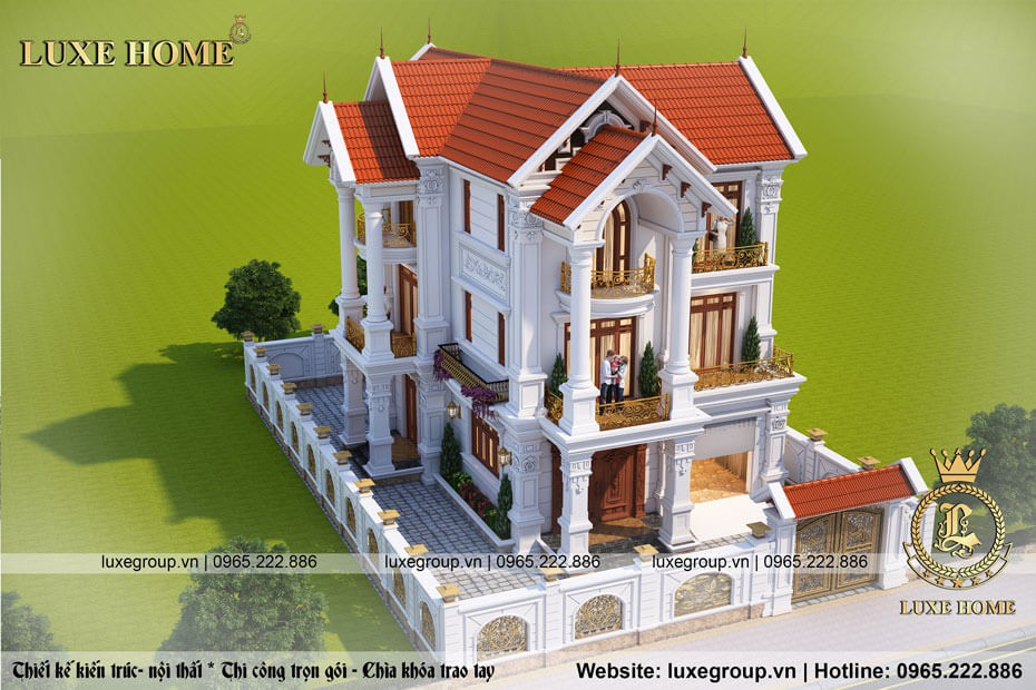thiết kế biệt thự tân cổ điển 3 tầng bt 3165