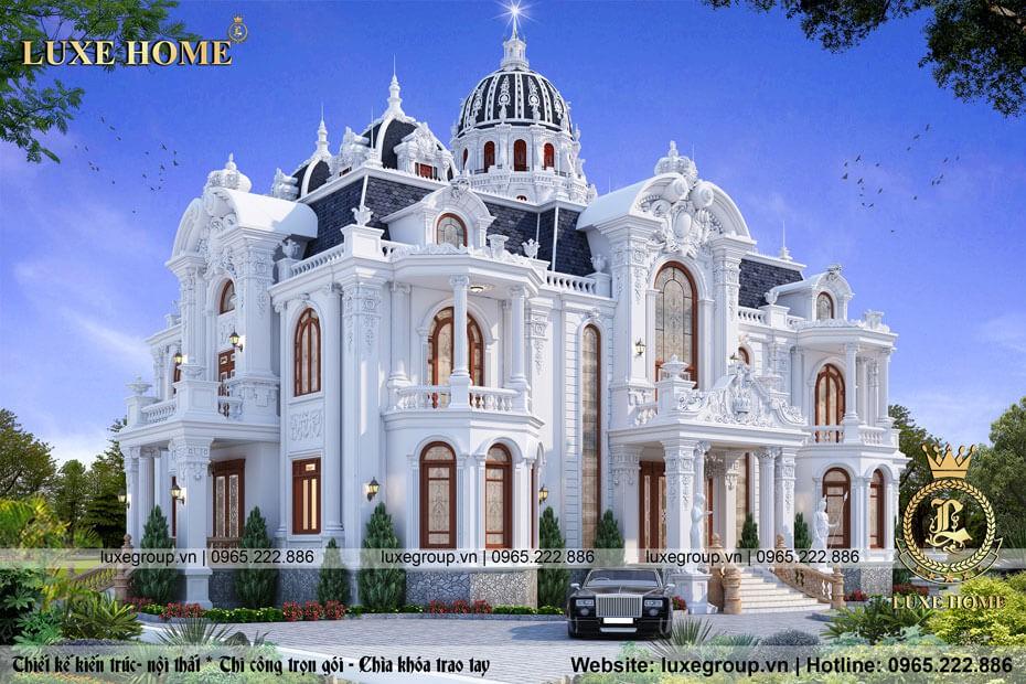 thiết kế lâu đài 2 tầng mái mansard