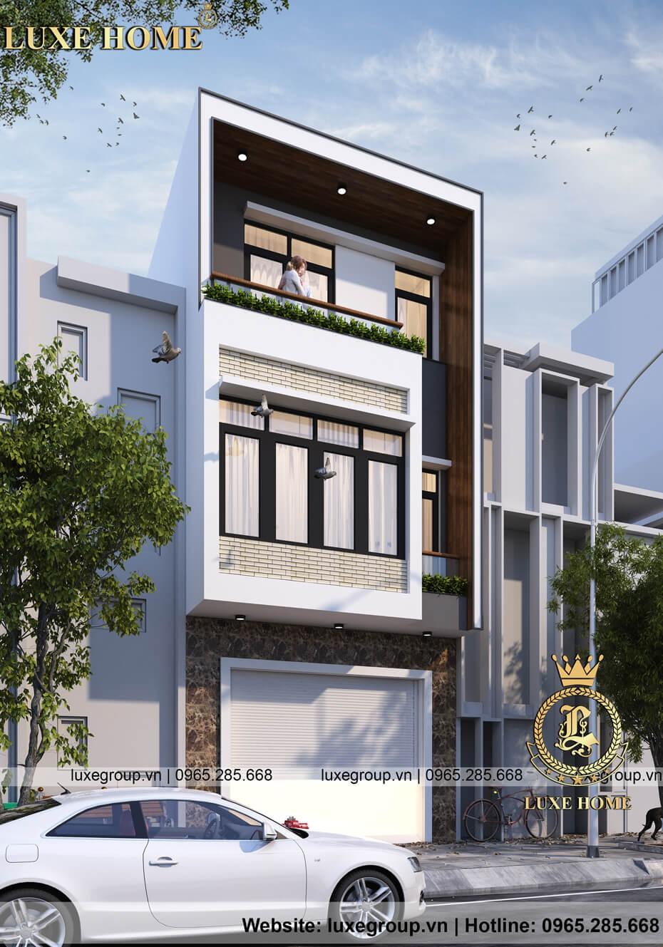 mẫu nhà biệt thự phố 3 tầng