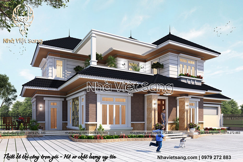 mẫu biệt thự hiện đại 2 tầng mái thái đẹp bt 2115 03