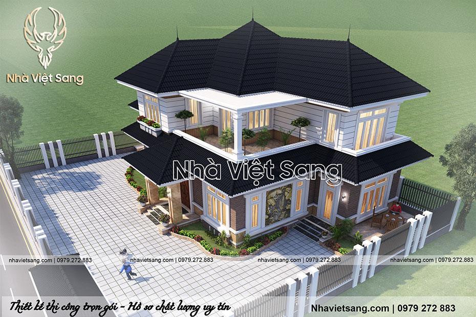 mẫu biệt thự hiện đại 2 tầng mái thái đẹp bt 2115 01