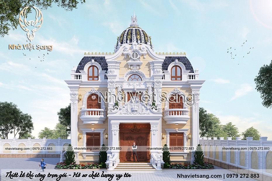 thiết kế biệt thự lâu đài 2 tầng cổ điển pháp bt 2119 01