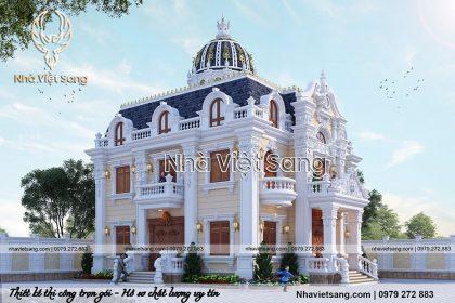 thiết kế biệt thự lâu đài 2 tầng cổ điển pháp bt 2119 03