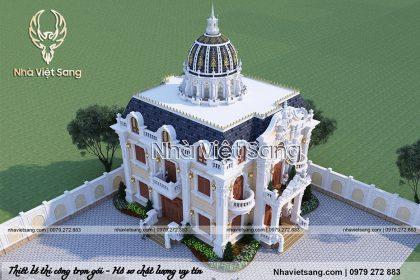 thiết kế biệt thự lâu đài 2 tầng cổ điển pháp bt 2119 04
