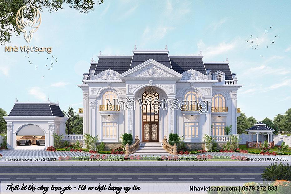 thiết kế dinh thự 2 tầng tân cổ điển dt 2113 01