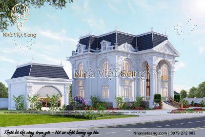 thiết kế dinh thự 2 tầng tân cổ điển dt 2113 03