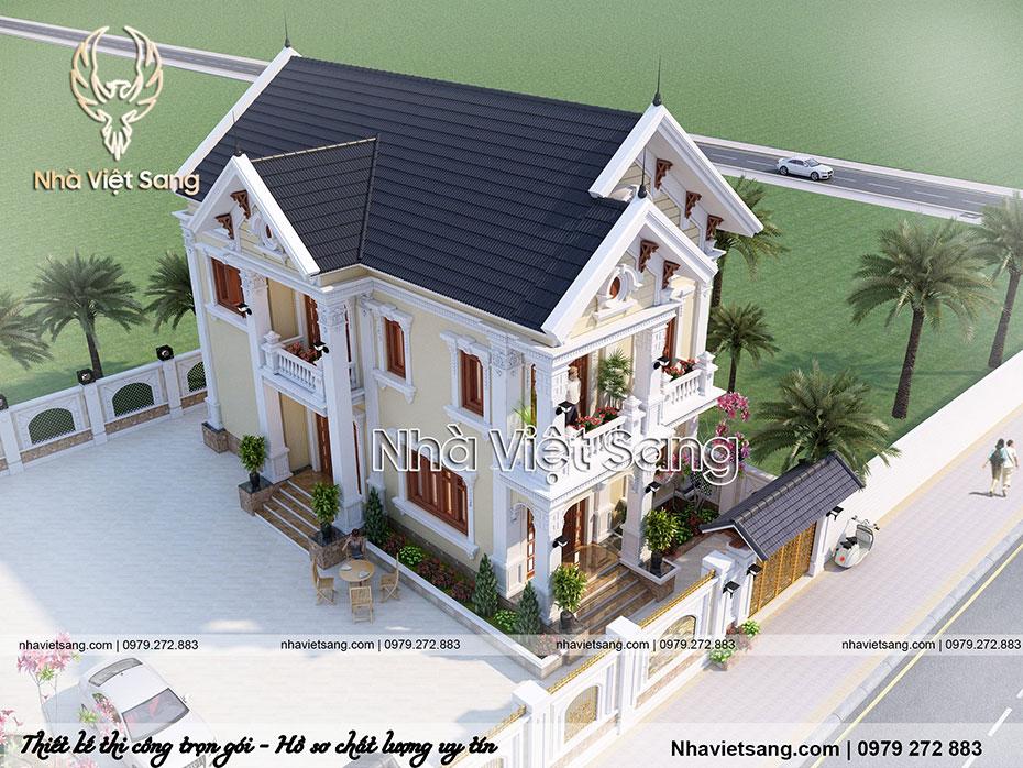 thiết kế biệt thự 2 tầng mái thái đẹp bt 2118 04