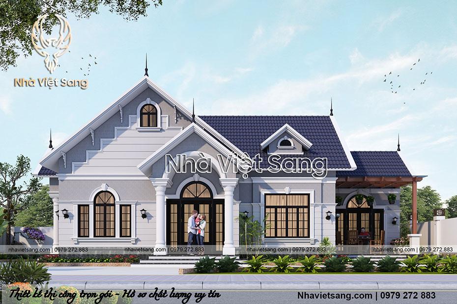 thiết kế biệt thự 1 tầng tân cổ điển đẹp bt 1116 01