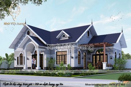 thiết kế biệt thự 1 tầng tân cổ điển đẹp bt 1116 02