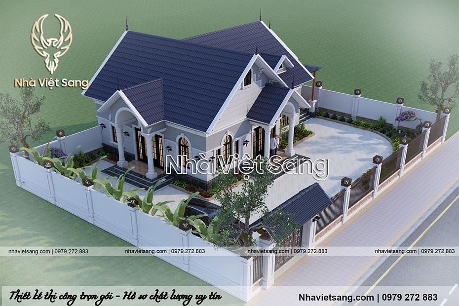 thiết kế biệt thự 1 tầng tân cổ điển đẹp bt 1116 06