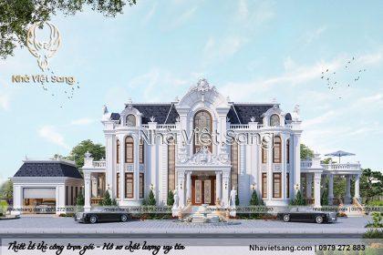 Thiết kế biệt thự lâu đài 2 tầng đẹp, chất lượng – BT 2136