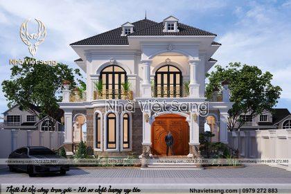 Mẫu biệt thự 2 tầng tân cổ điển mái thái đẹp suất sắc – BT 2238