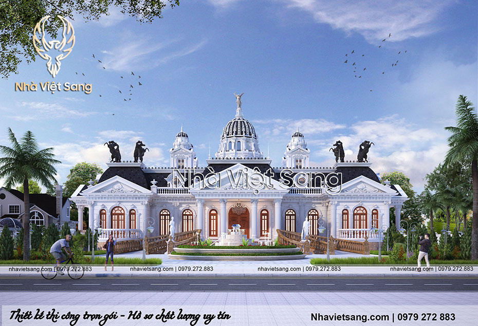 thiết kế lâu đài tân cổ điển pháp 1 tầng ld 1168 01