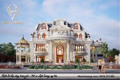 Thiết kế biệt thự lâu đài 4 tầng phong cách pháp – BT 4120