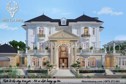 Mẫu biệt thự 3 tầng tân cổ điển mái thái đẹp – BT 3253