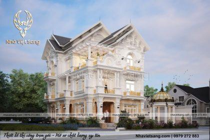 Thiết kế biệt thự 3 tầng 2 mặt tiền tân cổ điển – BT 3271