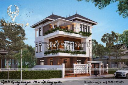 Thiết kế biệt thự hiện đại 3 tầng mặt phố đẹp – BT 3218