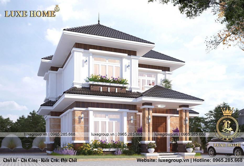 thiết kế biệt thự 2 tầng mái thái bt 2276