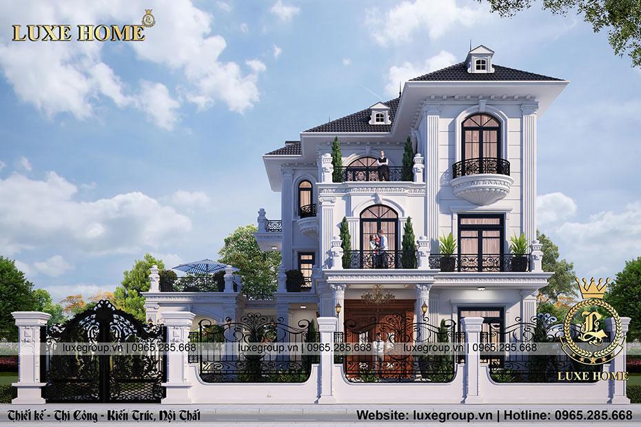 mẫu thiết kế biệt thự 3 tầng tân cổ điển - bt 3208