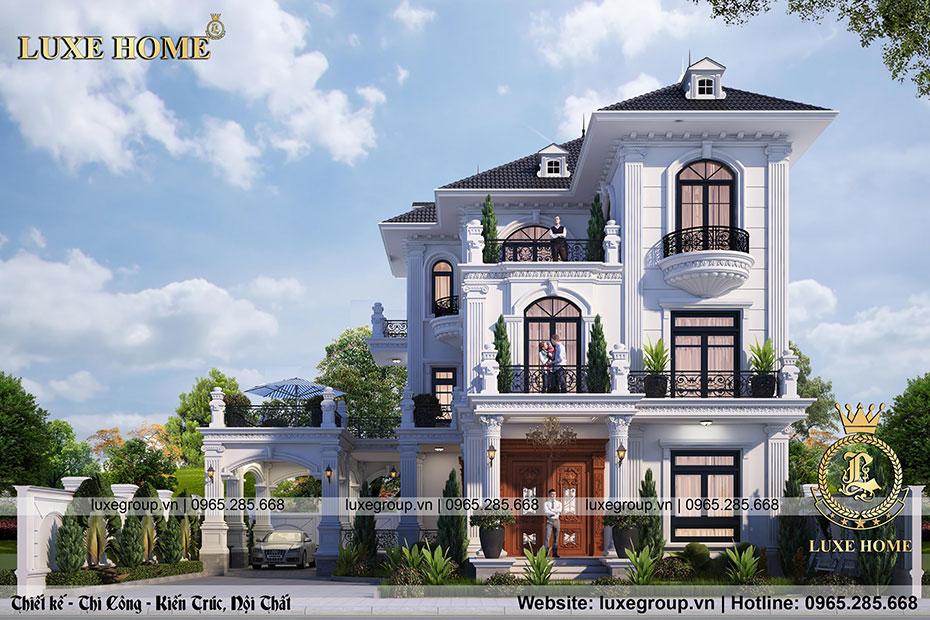 thiết kế biệt thự pháp 3 tầng tân cổ điển