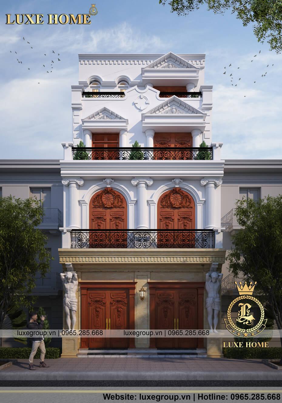 thiết kế biệt thự 4 tầng tân cổ điển pháp bt 41135
