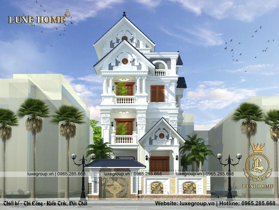 mẫu thiết kế biệt thự 4 tầng tân cổ điển