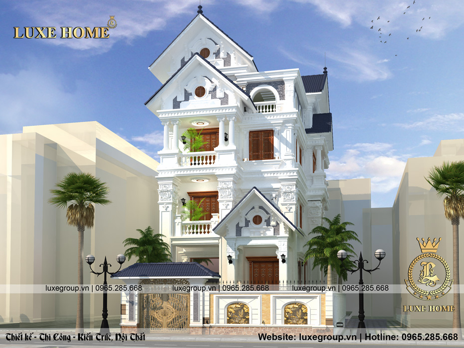 thiết kế biệt thự 4 tầng tân cổ điển bt 4116
