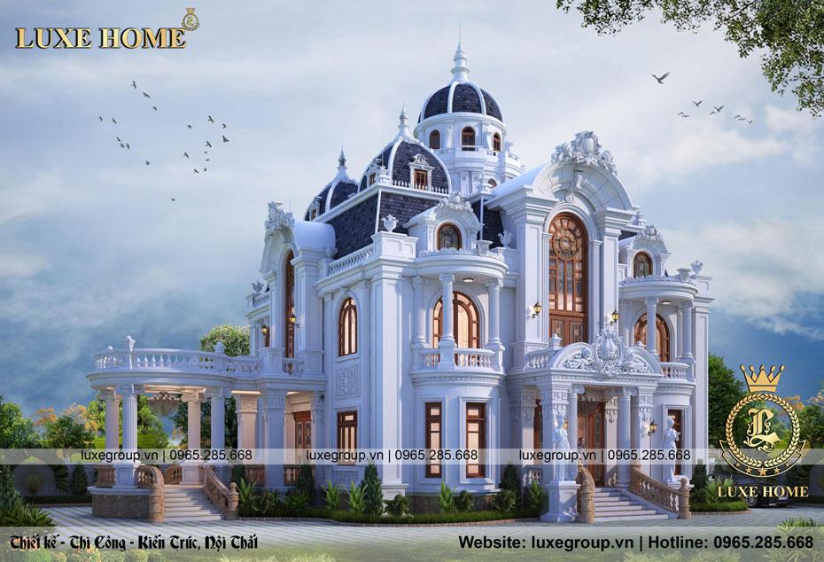 thiết kế biệt thự lâu đài 2 tầng tân cổ điển bt 22398