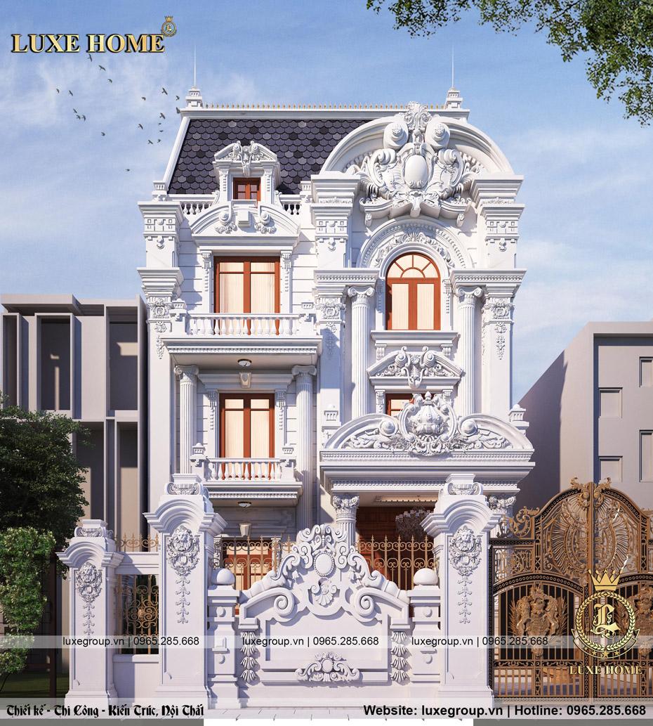 mẫu thiết kế biệt thự 3 tầng cổ điển mặt phố bt 3232