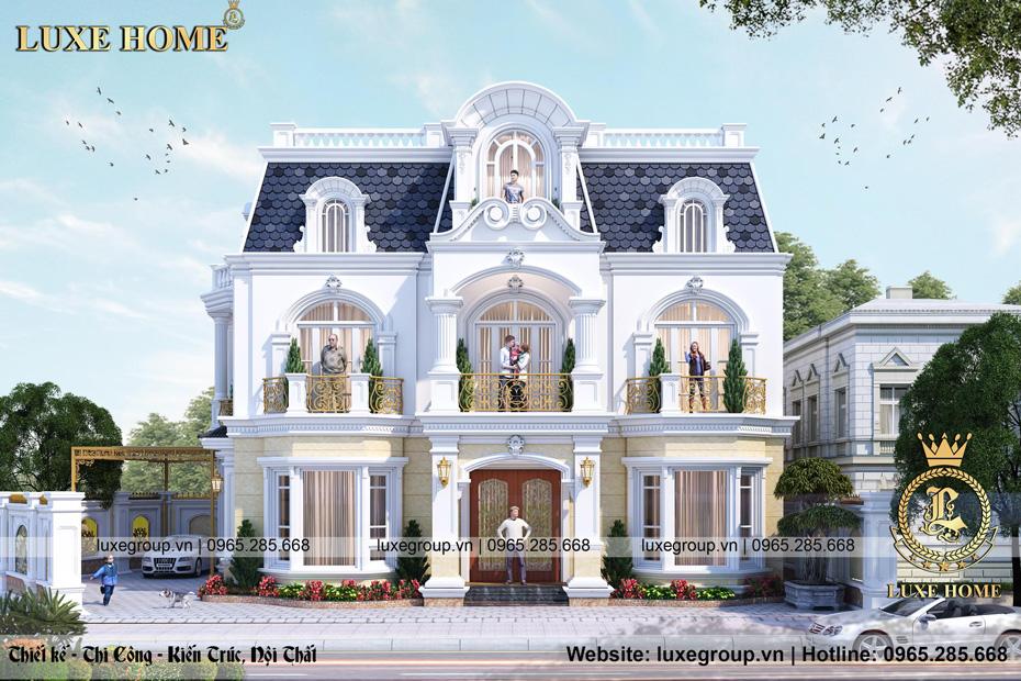 thiết kế biệt thự 2 tầng mặt phố bt 2259