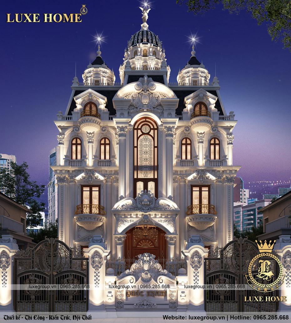 mẫu thiết kế lâu đài dinh thự 5 tầng cổ điển pháp