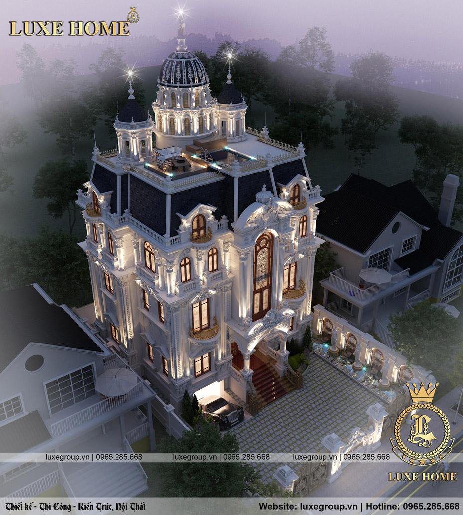 thiết kế lâu đài dinh thự 5 tầng cổ điển pháp