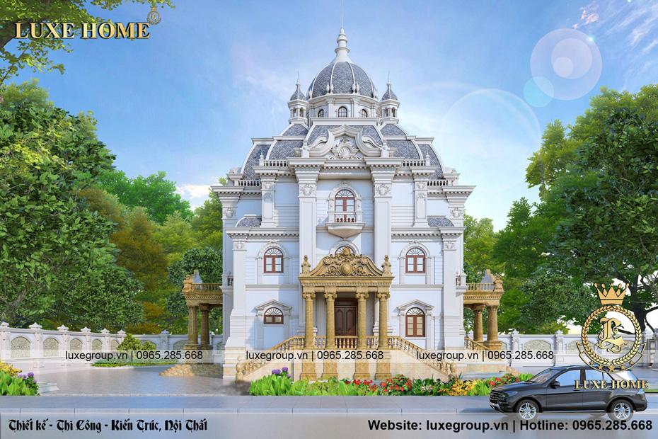 thiết kế lâu đài dinh thự 3 tầng mái mansard ld 3229