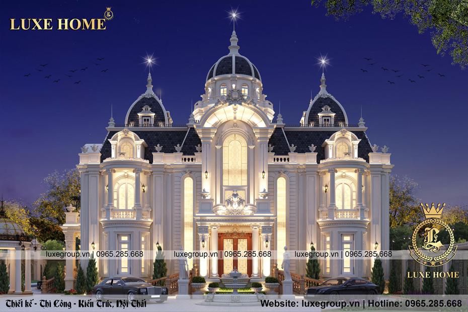 mẫu thiết kế lâu đài 2 tầng tân cổ điển pháp
