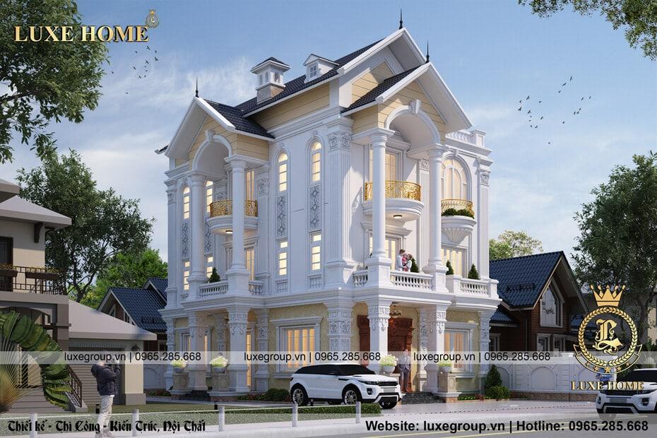 mẫu thiết kế biệt thự 3 tầng tân cổ điển bt 3180