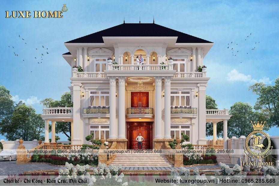 thiết kế biệt thự tân cổ điển 3 tầng sân vườn mái thái