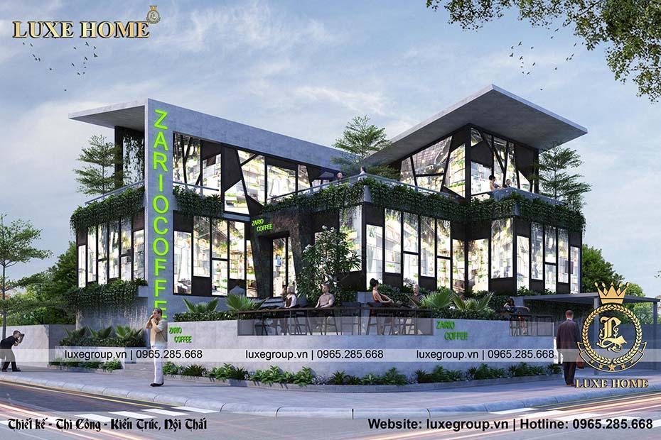 mẫu quán coffe 2 tầng hiện đại bt 2219