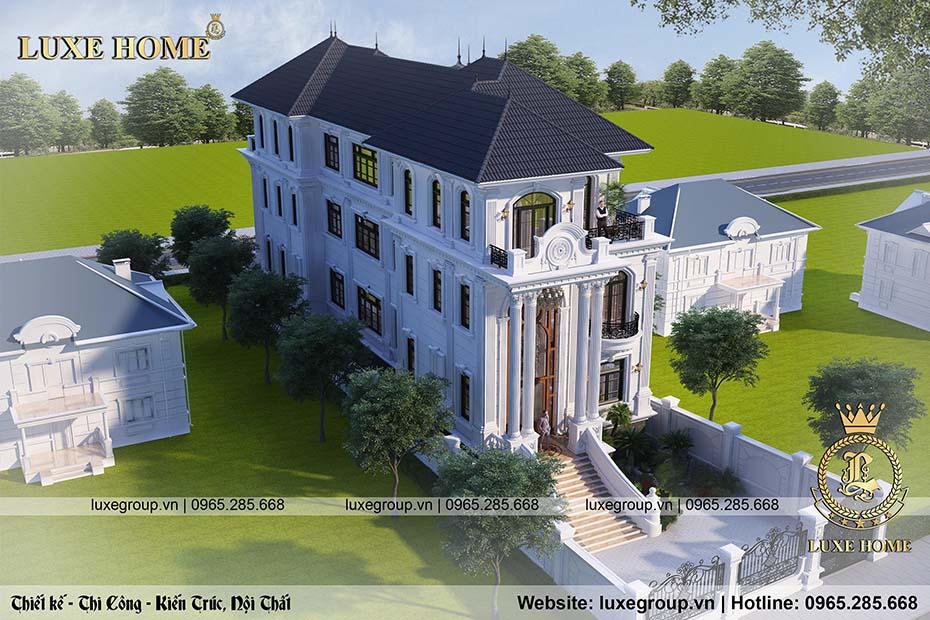 thiết kế mẫu biệt thự 3 tầng tân cổ điển