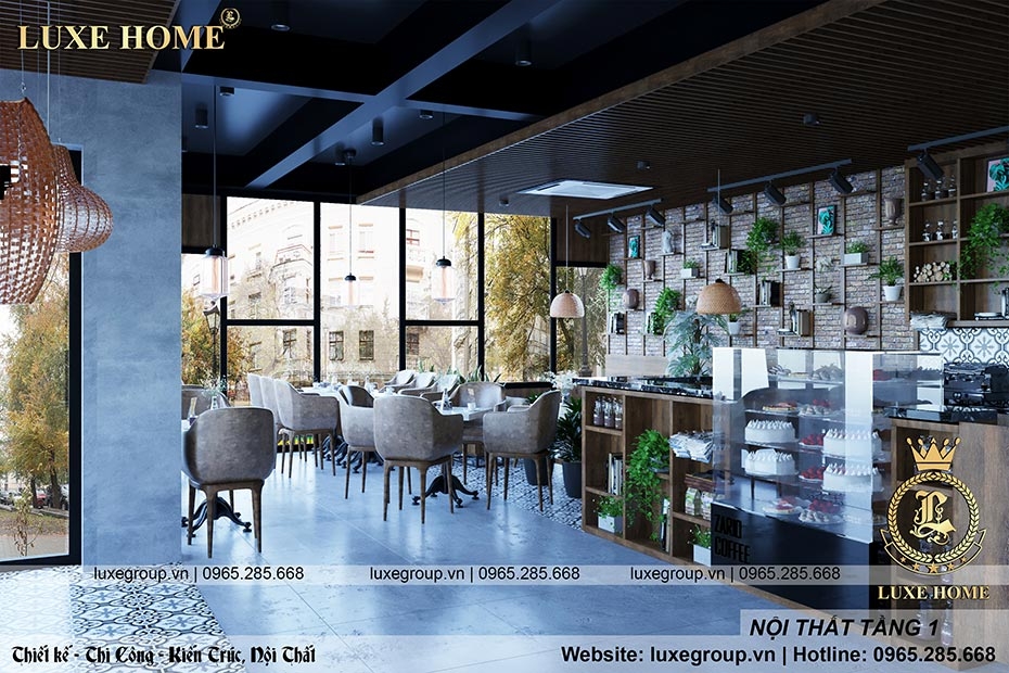 nội thất quán cafe tầng 1