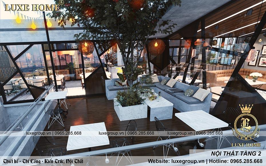 nội thất quán cafe tầng 2