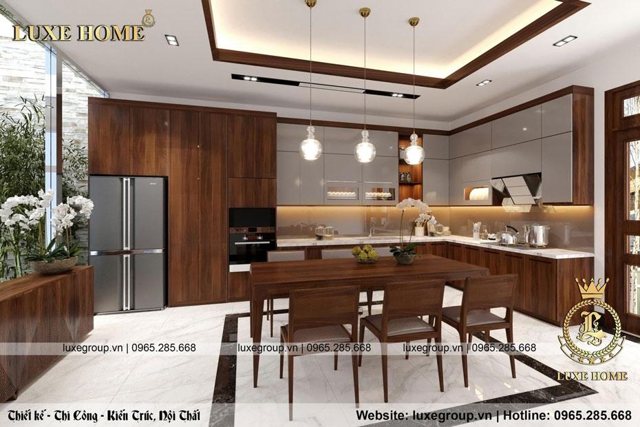 thiết kế nội thất phòng bếp nhà chị tuyết