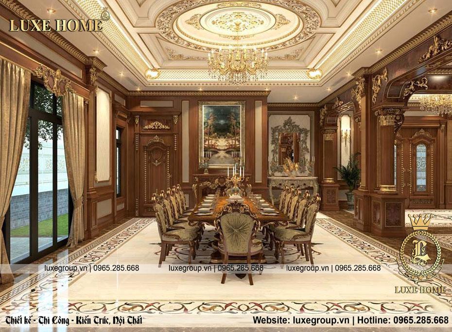 nội thất phòng ăn gia đình lâu đài