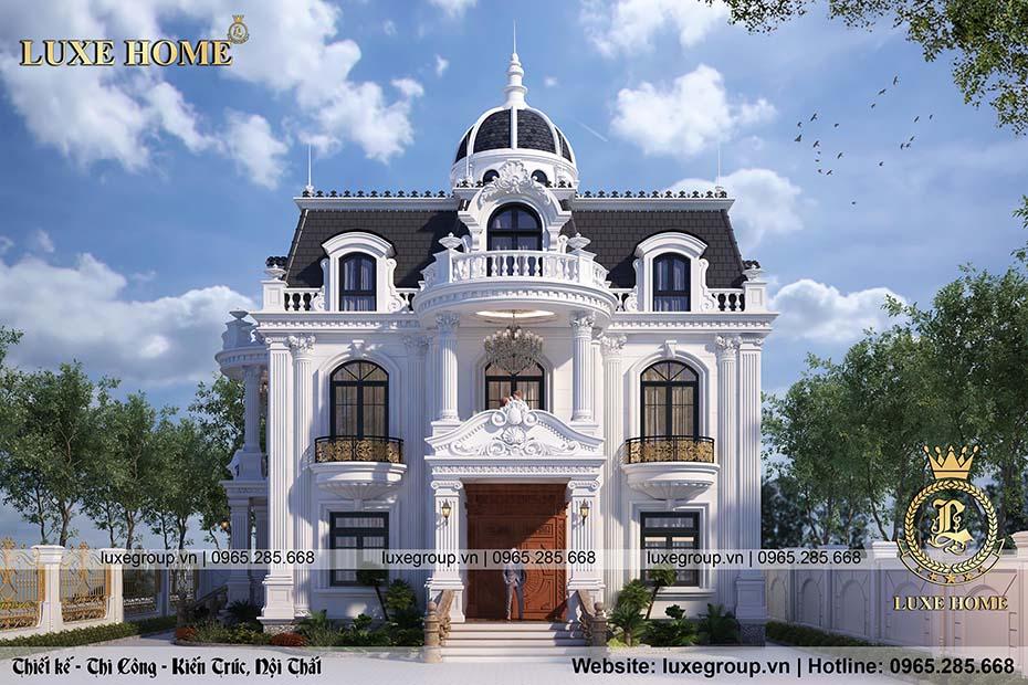 mẫu thiết kế biệt thự lâu đài 2 tầng tân cổ điển