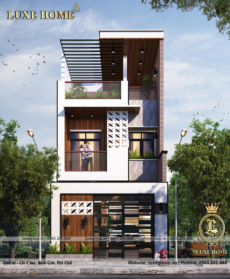 thiết kế biệt thự 2 tầng 1 tum bt 2267