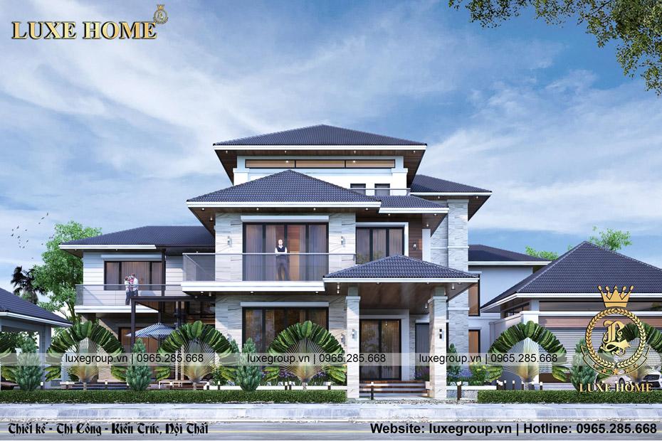 mẫu thiết kế biệt thự hiện đại 2 tầng 1 tum bt 3248