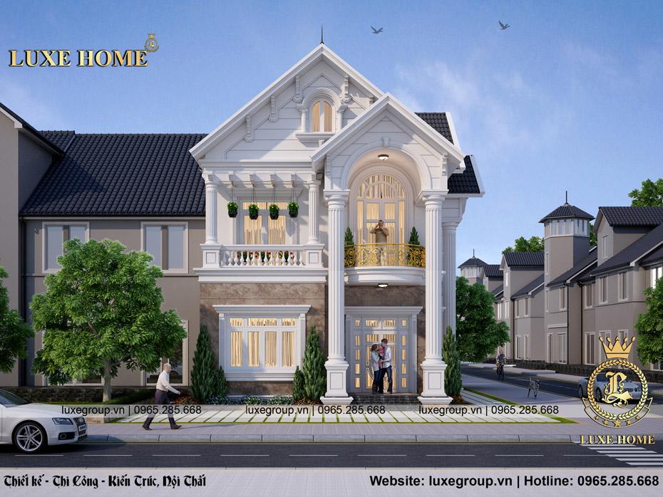 thiết kế biệt thự 2 tầng mái thái bt 2181
